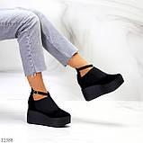 Стильные женские туфли на платформе в черном цвете натуральная замша, фото 9