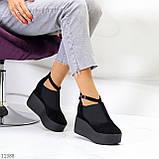 Стильные женские туфли на платформе в черном цвете натуральная замша, фото 10
