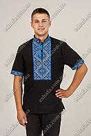 Мужская черная вышиванка Федор голубой орнамент КР