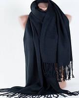 Широкий черный мягкий шарф из шерсти Traum 2493-41