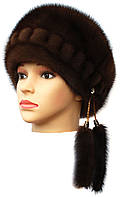 Норковая женская шапка модель Стюардесса цвет орех