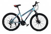 Горный Велосипед CrossBike Shark GIRL колеса 26 дюймов, стальная рама 17 дюймов, 15кг - Бирюза-Красный-Черный