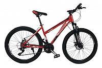 Горный Велосипед CrossBike Shark GIRL колеса 26 дюймов, стальная рама 17 дюймов, 15кг - Красный-Белый-Черный