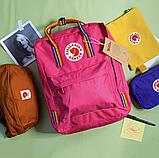Рюкзак канкен kanken fjallraven школьный | портфель | ранец c радужными ручками, лямками 16л Малиновый, фото 3