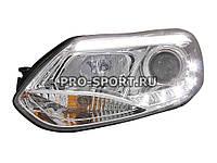 """Тюнинг фары Ford Focus 3 '2011+ """"ангельские глазки"""", линза, с дневными ходовыми огнями, хром"""