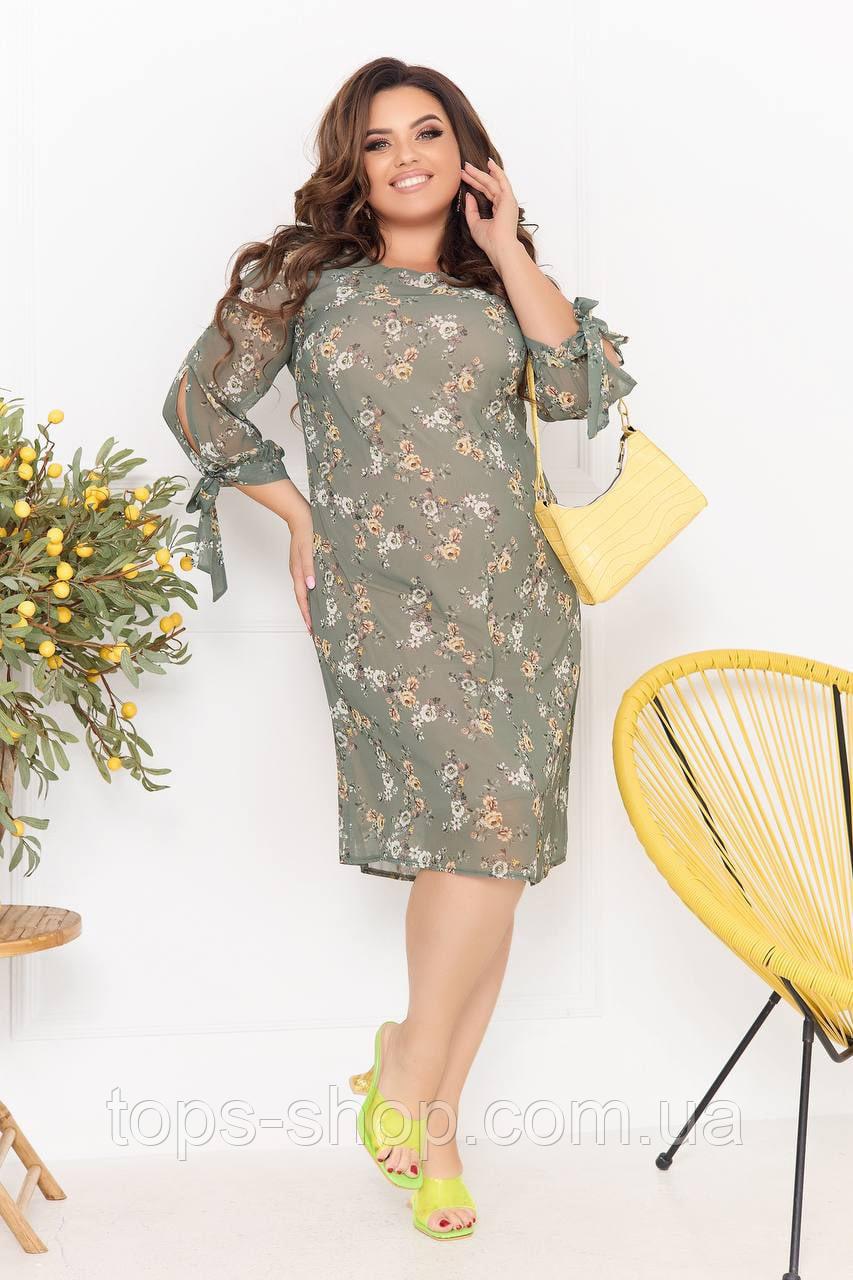 Нарядное летнее шифоновое платье на подкладке с цветочным принтом больших размеров 52,54,56,58 Оливковое
