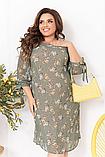 Нарядное летнее шифоновое платье на подкладке с цветочным принтом больших размеров 52,54,56,58 Оливковое, фото 2