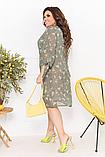 Нарядное летнее шифоновое платье на подкладке с цветочным принтом больших размеров 52,54,56,58 Оливковое, фото 3