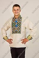 Мужская  вышиванка Тризуб лен