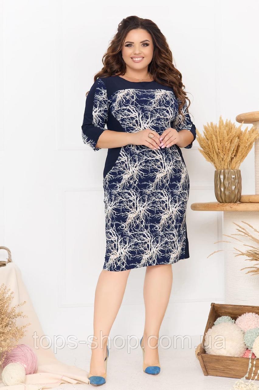 Летнее легкое женское платье большого размера, короткий рукав, платье, ткань масло, 52, 54, 56, 58 Темно-синее