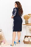 Летнее легкое женское платье большого размера, короткий рукав, платье, ткань масло, 52, 54, 56, 58 Темно-синее, фото 3
