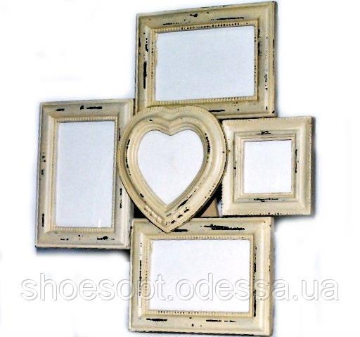 Винтажная фоторамка на подставке деревянная 40х37х2 см на 5 фото
