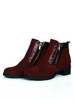 """Ботинки женские """"Две молнии"""" из темно-красной замши"""