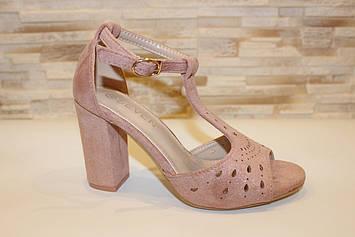 Босоножки женские розовые замшевые на каблуке Б1246