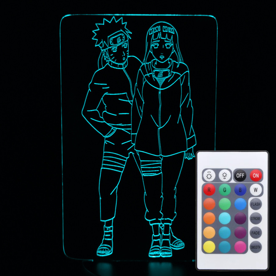 Акриловий світильник-нічник з пультом 16 кольорів Наруто та Хіната tty-n000233