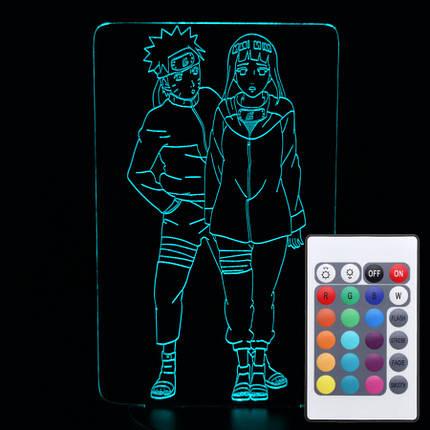 Акриловий світильник-нічник з пультом 16 кольорів Наруто та Хіната tty-n000233, фото 2