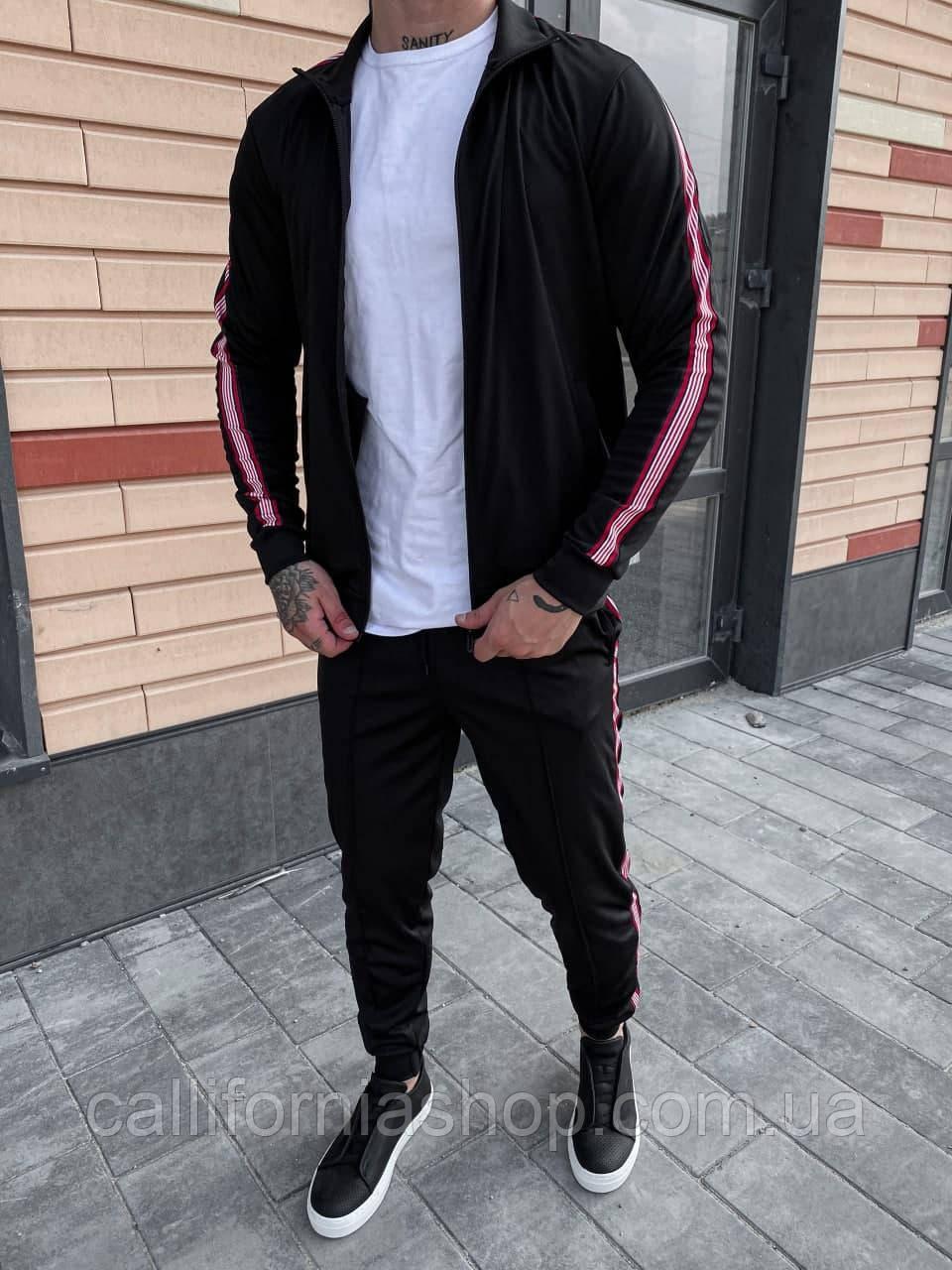 Спортивний чорний костюм чоловічий олімпійка + штани демісезонний з лампасами