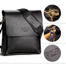 Якісна чоловіча сумка через плече Polo Videng поло Чорна 24x21x7 ViPvse