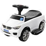 Машинка дитяча каталка-толокар Bambi «BMW» M 3503B-1 з батьківською ручкою, музикою, фарами, колір білий, фото 4