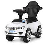 Машинка дитяча каталка-толокар Bambi «BMW» M 3503B-1 з батьківською ручкою, музикою, фарами, колір білий, фото 7