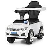 Машинка дитяча каталка-толокар Bambi «BMW» M 3503B-1 з батьківською ручкою, музикою, фарами, колір білий, фото 10