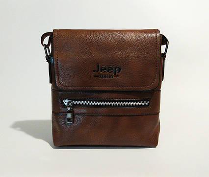 Мужская сумка через плечо Jeep Коричневая 21см х 19см / Кожа PU 558 brown ViPvse