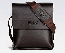 Якісна чоловіча сумка через плече Polo Videng поло Темно-коричнева 24x21x7 ViPvse