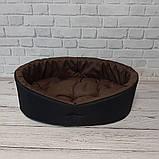 Двухсторонний лежак для собак и кошек Черный с коричневым ViPvse, фото 2