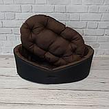 Двухсторонний лежак для собак и кошек Черный с коричневым ViPvse, фото 3