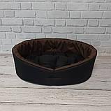 Двухсторонний лежак для собак и кошек Черный с коричневым ViPvse, фото 4