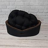 Двухсторонний лежак для собак и кошек Черный с коричневым ViPvse, фото 5