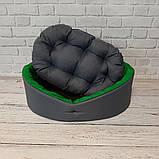 Кровать для животных лежак для собак и кошек Серый с зеленым ViPvse, фото 3