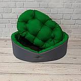 Кровать для животных лежак для собак и кошек Серый с зеленым ViPvse, фото 5