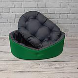 Лежак двухсторонний для собак и кошек Зеленый с серым ViPvse, фото 5