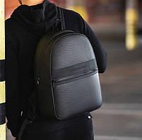 Рюкзак міський чорного кольору з еко-шкіри. Рюкзак унісекс стильний чорний.