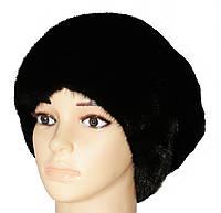Черная женская норковая шапка модель Александра