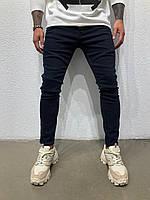 Темно-синие мужские джинсы зауженные стильные с необычным швом Размер: 30