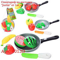 Продукты 4013D на липучке,  3шт,  сковородка,  нож,  3 вида (овощи / фрукты),  в сетке,  20-12-6см