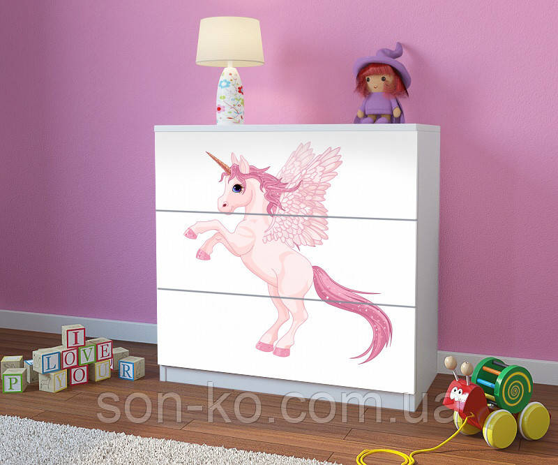 Комод детский с рисунком Эдинорог. Бесплатная доставка
