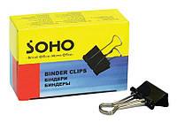 Биндер 41 мм, черный, 12шт, карт. упаковка, Soho, SH-5005