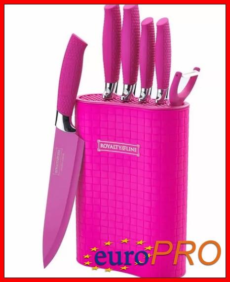 Набір кухонних ножів на підставці Royalty Line RL-6MSK pink