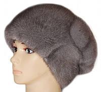 норковая женская шапка модель Александра цвет серо -голубая