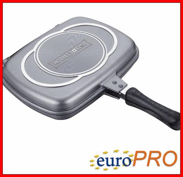 Сковородка гриль вусторонняя Royalty Line RL-DF34M silver
