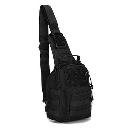 Тактична сумка-рюкзак на одній лямці Чорна T-Bag 2 ViPvse