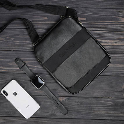 Стильная сумка через плечо барсетка Calvin Klein CK кельвин Черная ViPvse