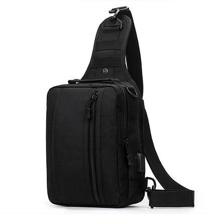 Чорна тактична сумка-рюкзак барсетка на одній лямці + USB вихід T0445 ViPvse