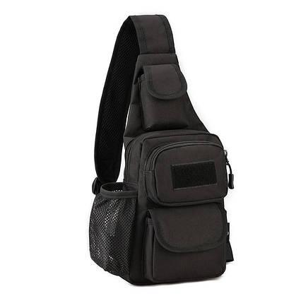 Чорна тактична сумка-рюкзак барсетка бананка однолямочник + USB вихід ViPvse