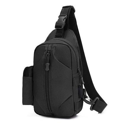 Тактична сумка-рюкзак барсетка бананка на одній лямці чорна T-Bag 446 ViPvse