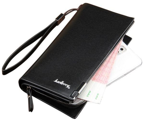 Стильний клатч чоловічий шкіряний гаманець Чорний Baellerry Classic Балери ViPvse