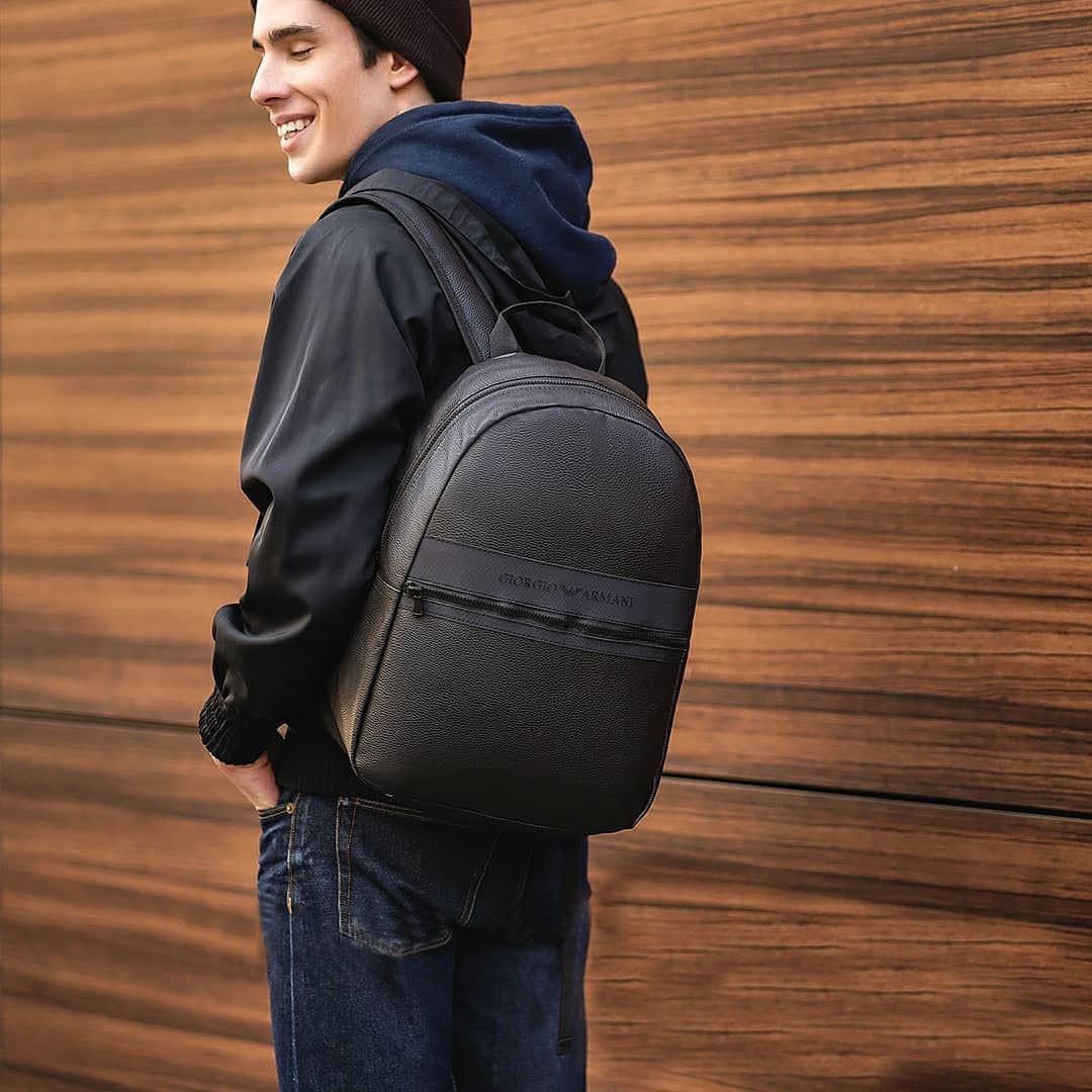 Стильний шкіряний повсякденний рюкзак Giorgio Armani armani Чорний ViPvse
